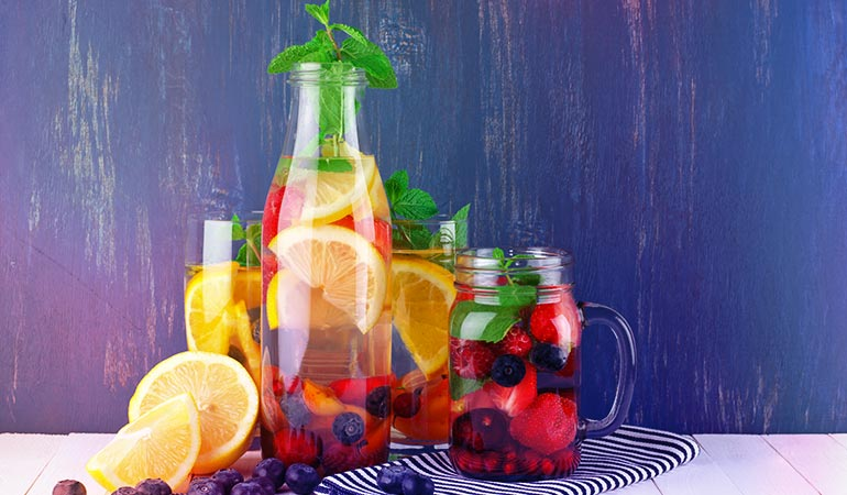 Flavored water contains artificial sweeteners, flavors and food coloring