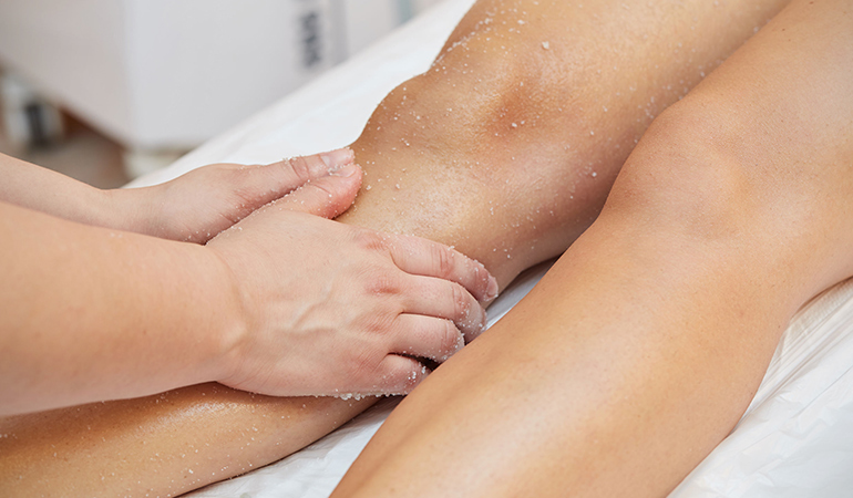 Exfoliating the skin on your arms and legs can help reduce certain skin conditions