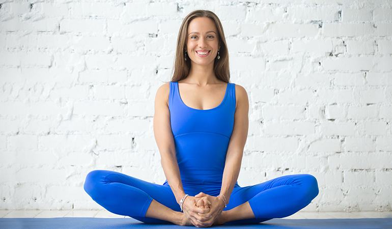 The cobbler pose stimulates the heart and improves circulation.