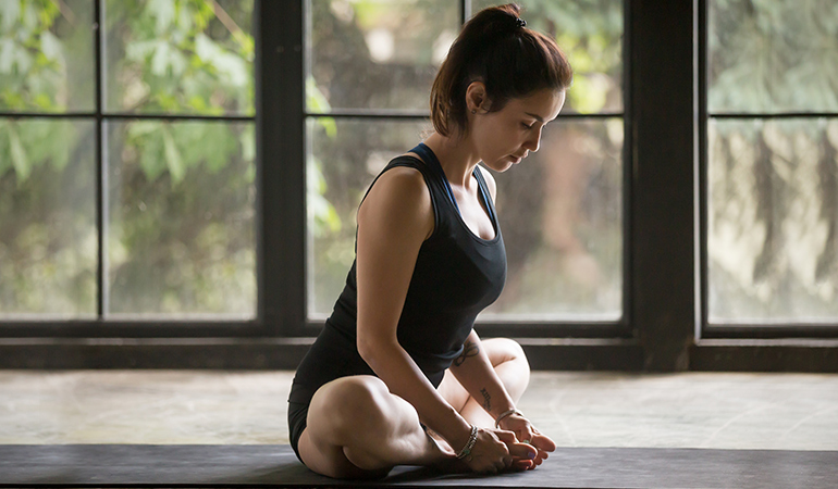The butterfly pose stretches your groin and inner thigh muscles