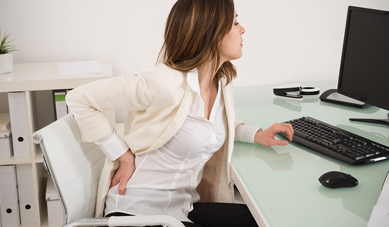 Prolonged sitting causes muscle fatigue.