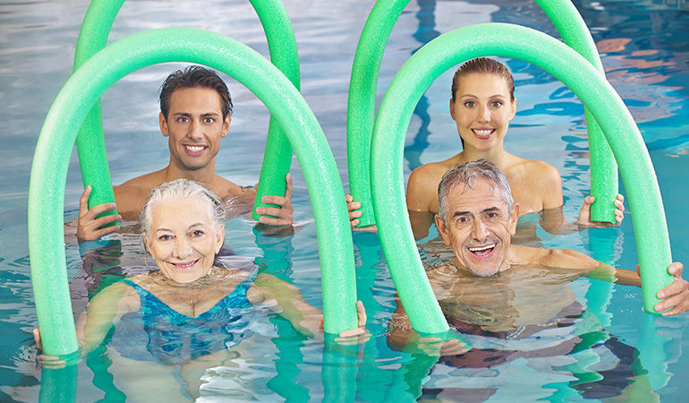 Warm water used in hydrotherapy relaxes muscles and reduces joint pain in those suffering from fibromyalgia