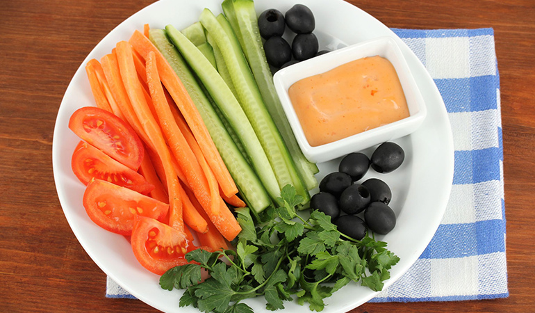 healthy snacks like carrots and cucumber