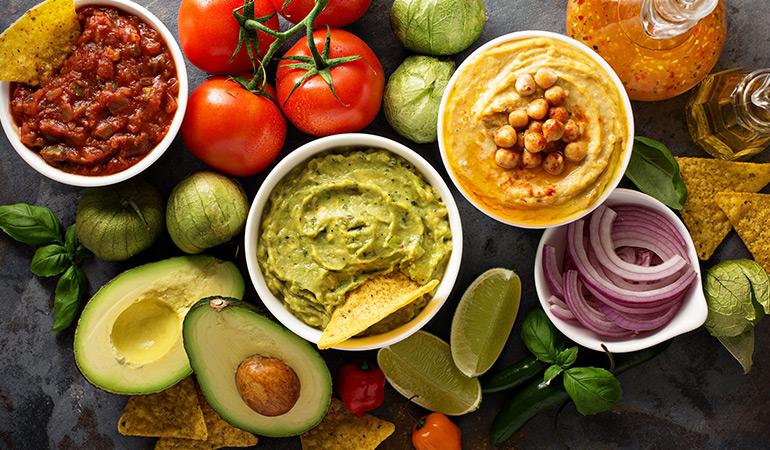 hummus, pesto and guacamole dips