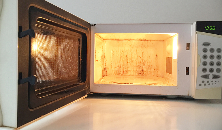 Clean microwaves with baking soda.