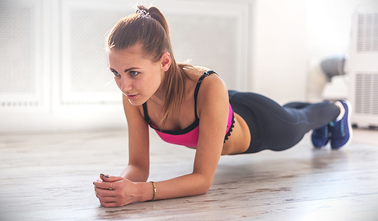 Plank tones the abdominal muscles.