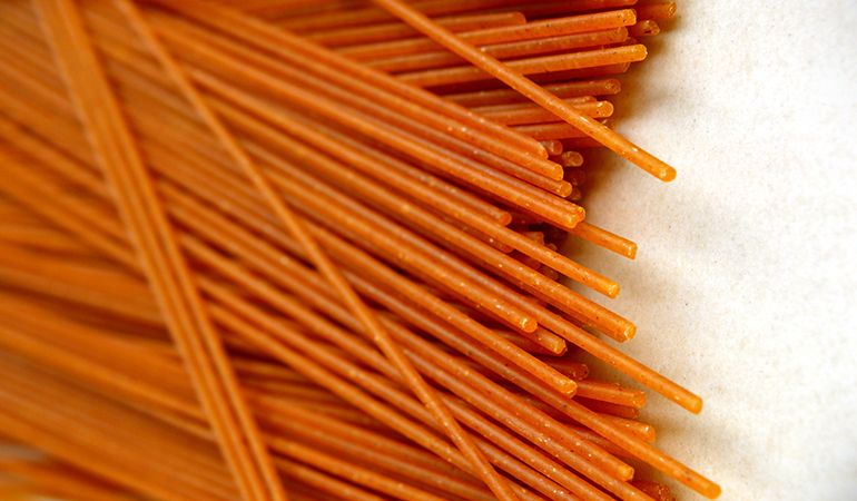 Gluten-free quinoa pasta is high in protein and minerals, and stabilizes one's sugar, insulin, and triglyceride levels.