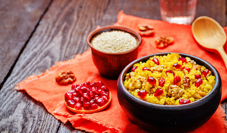 Quinoa can be made with turmeric
