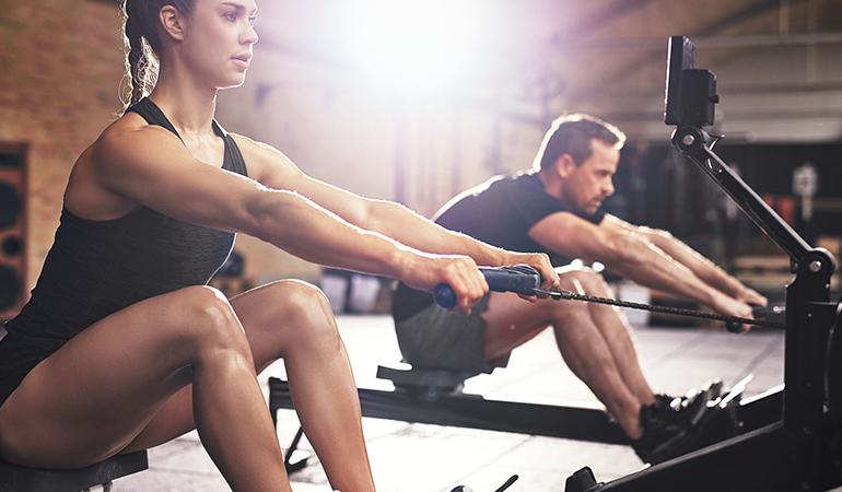 Rowing burns 754 calories.