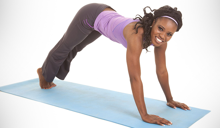 The upward dog face strengthens your core
