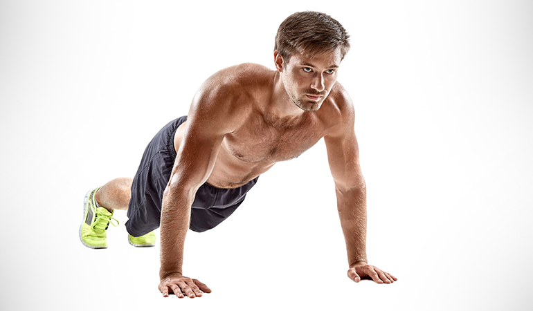 Walkout targets the shoulders, abs, and legs.