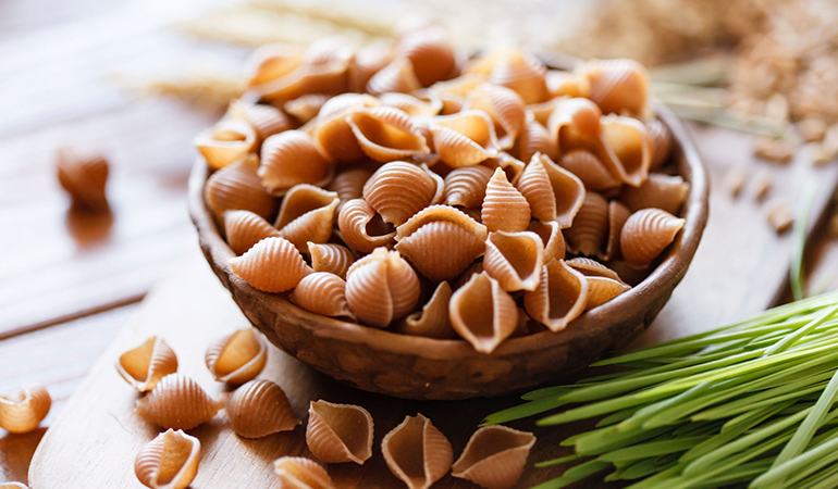 Whole wheat pasta is high in fiber, protein and essential nutrients.