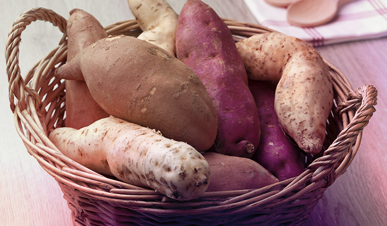 Sweet potatoes should never go in the fridge as the starch in them turns into sugar if refrigerated