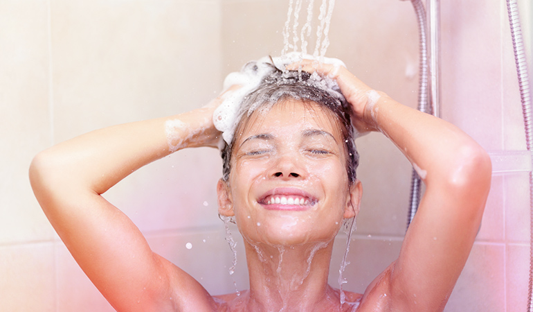 Hair products that contain heavy moisturizing agents, sulfates, and silicones can wreak havoc on the skin.