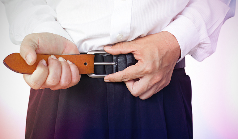 A belt will stop you from eating too much