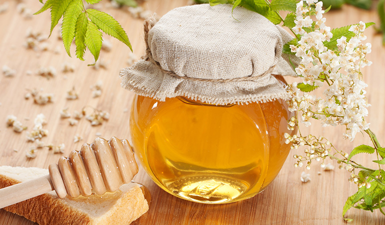 Honey contains essential immunity-boosting compounds and helps relieve painful symptoms of coughing.