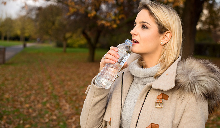 Keeping a bottle of water around at all times will make it easier to wean off calorie-laden sodas.
