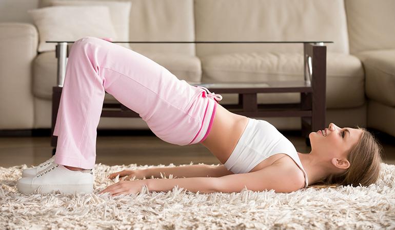 Pelvic tilt strengthens hips.