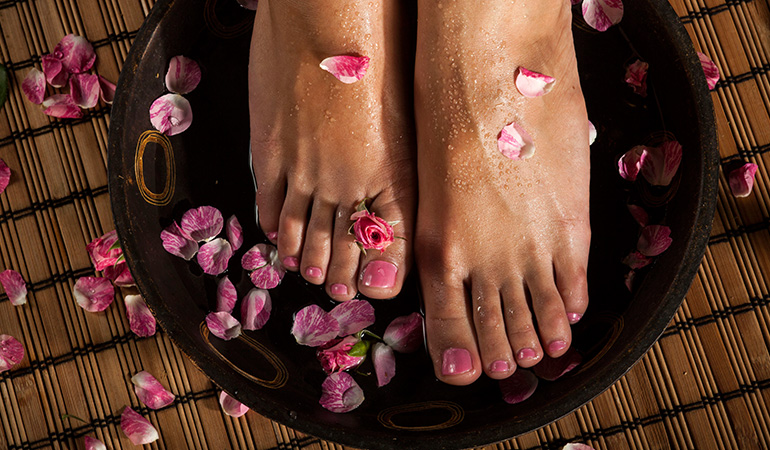 Soak your feet in hot water to rid yourself of all bacteria