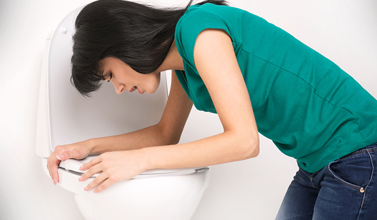 Symptoms of H. pylori infection include nausea, loss of appetite, bloating, and frequent burping