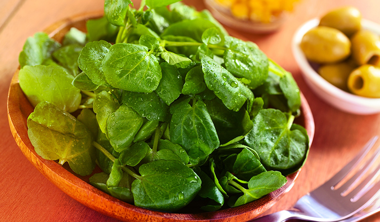 watercress heads the list with a score of 100