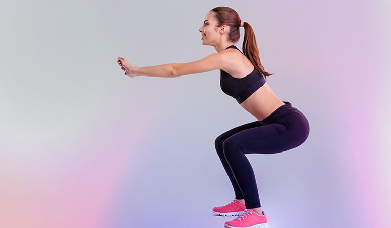 This exercise engages the buttocks.