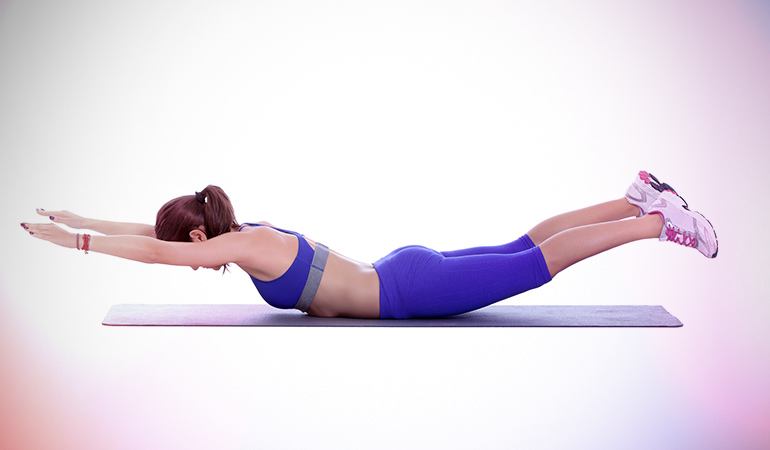 This exercise works on the buttocks.