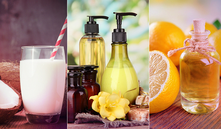 You can make your own all-natural shampoo at home using coconut milk and liquid castile soap.