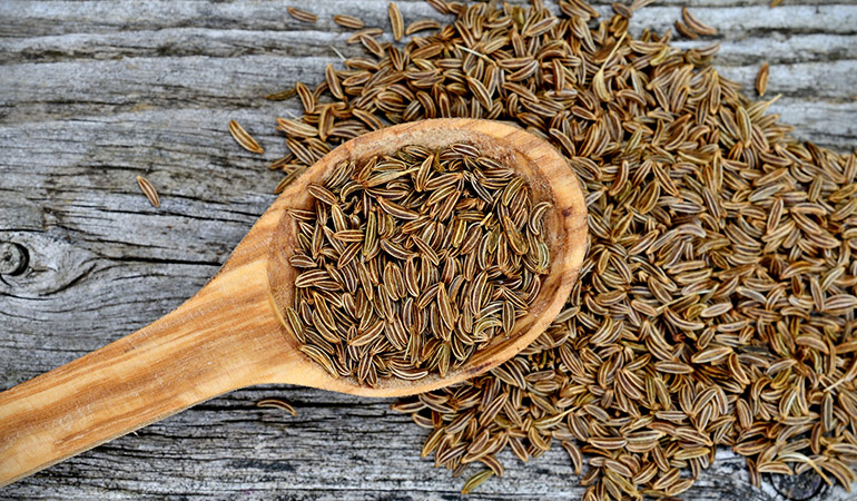 Caraway seeds treat digestive disorders like diarrhea, dyspepsia, and bloating