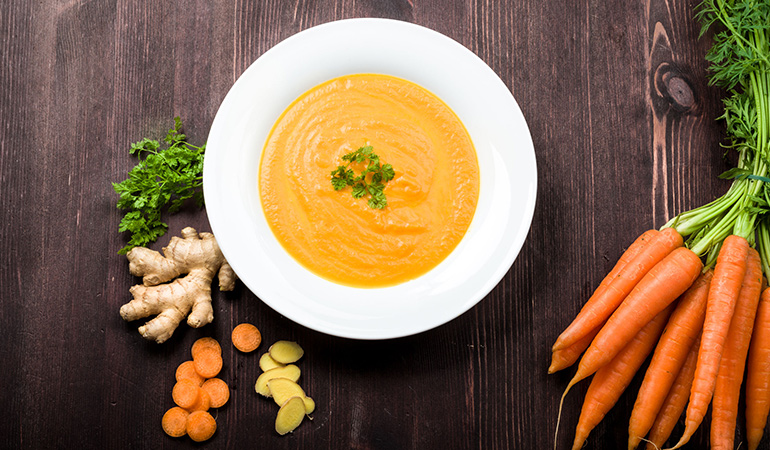 Carrot-ginger soup can be thrown together with just six ingredients