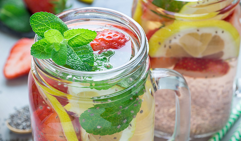 Chia seeds and fruits infused with water help in detoxing the body and prevent acne
