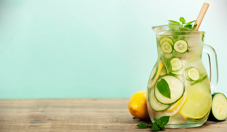 Acne-prone skin can benefit from drinking cucumber, lemon, and mint infused water