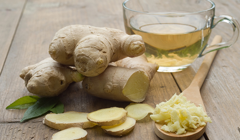 Ginger contains gingerols and shogaols that have anti-inflammatory properties