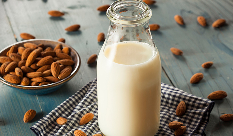 You can make your own almond milk at home with just two ingredients – almonds and water.