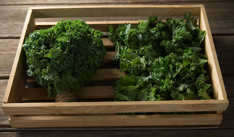 Organic kale lacks residual pesticides.