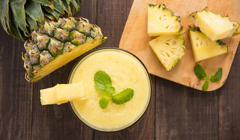 Pineapple juice in combination with cayenne peppers, honey, and apple cider vinegar works wonders against a cold or the flu