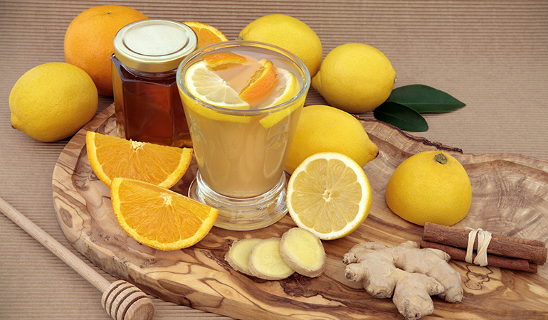 A tea made of cinnamon, turmeric, ginger, lemon juice, and honey helps your immune system fight off a cold or flu effectively