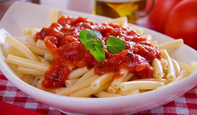 Pasta sauce contains excess sugar.