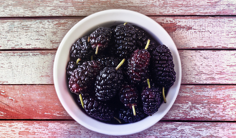 One cup of mulberries contains 2.59 mg iron