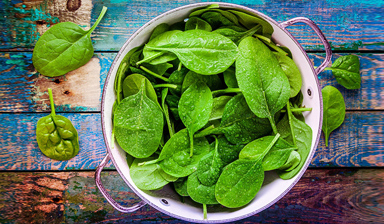 Leafy greens are rich in iron.