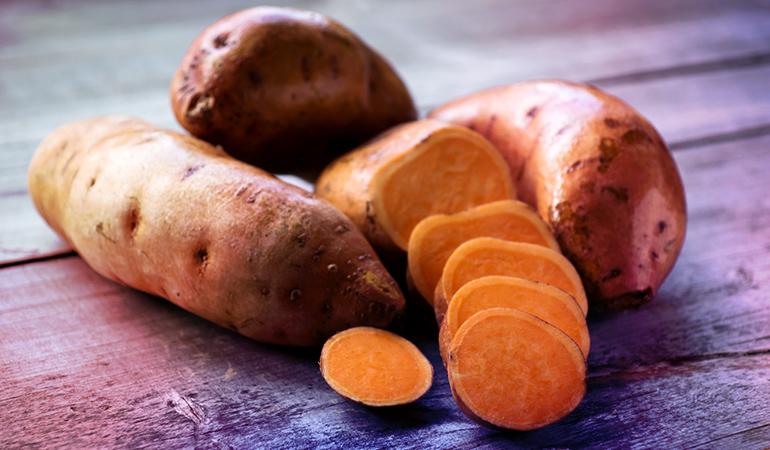 A medium baked sweet potato has 13120 mcg of beta carotene.