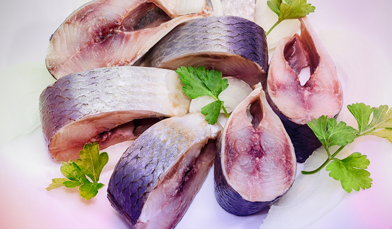 Pickled Atlantic herring is a good source of vitamin A.