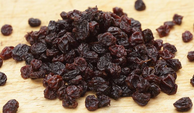Zante currants and raisins are rich in iron