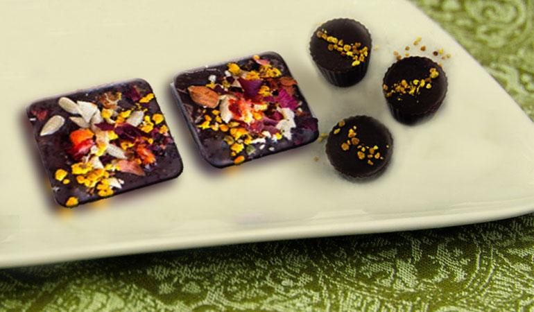 Recipe for bee pollen dark chocolate bites