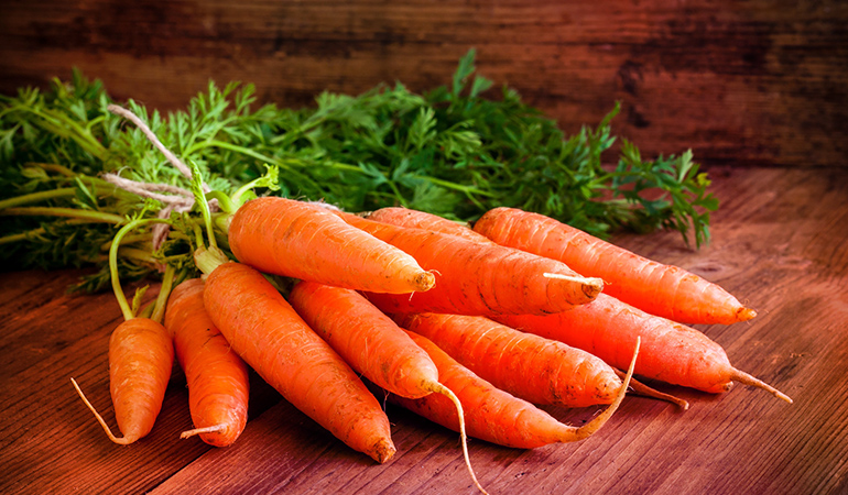 Carrots are a good source of vitamin A.