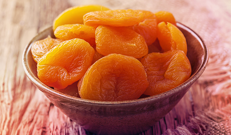 Half a cup of apricots contains 1.73 mg iron