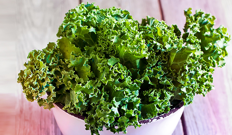 Half a cup of cooked kale has 5312.5 mcg of beta carotene.