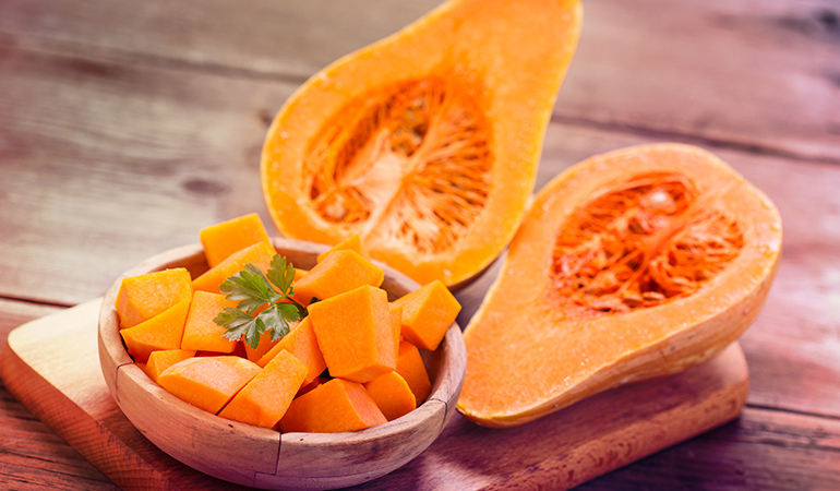 Half a cup of cooked butternut has 4684 mcg of beta-carotene.