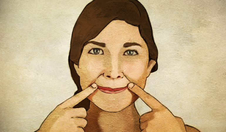 The happy cheeks sculpting exercise helps remove face fat.