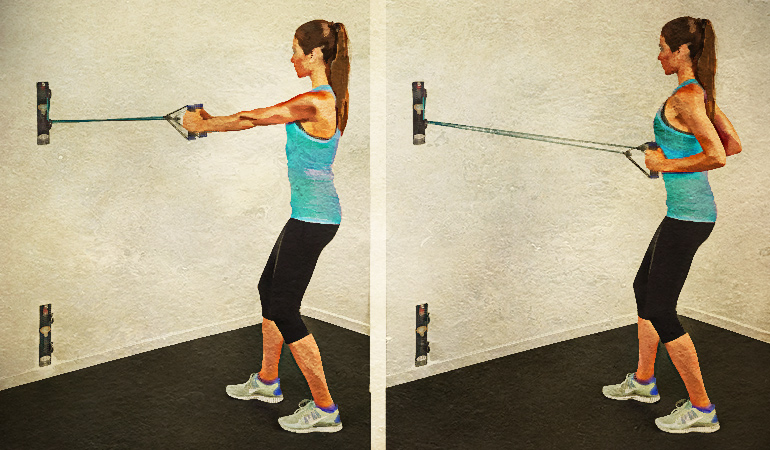 Standing rowing exercises can improve rotator cuff pain.